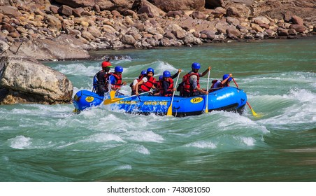 RISHIKESH, INDIA - October 19, 2017: Rafting on the Ganges river in Rishikesh, North India.