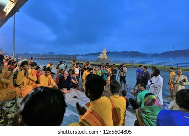 Rishikesh, India,Aug, 3, 2018. Ganga Aarti ceremony in Parmarth Niketan ashram at sunset, Indian people attend the Vishnu worship ceremony along the Ganga River.