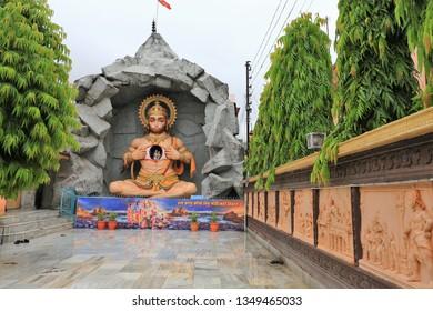Rishikesh India,Aug,4, 2018.The statue of Hanuman pretending to break, Parmarth Niketan Ashram on  the Ganga River,India,View of Hanuman statue in Parmarth Niketan Ashram, Rishikesh