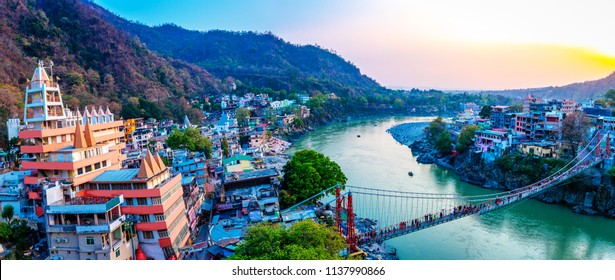 Rishikesh, yoga city India, Gange River valley, Ganga, Uttarakhand during sunset.Rafting,raft
