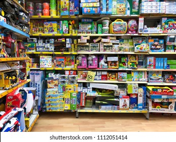 RISHON LE ZION, ISRAEL- APRIL 27, 2018: Shelves with toys in the store in Rishon Le Zion, Israel.