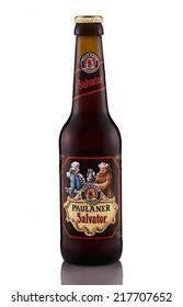 Rishon Le Zion, Israel - April 8, 2013: One bottle of Paulaner Salvator Doppelbock (Double bock) beer alc.7.9%, 330ml. Brewed by Paulaner Brauerei in Munich, Bavaria