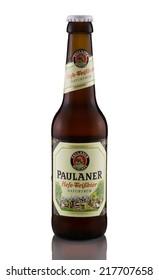 Rishon Le Zion, Israel - April 8, 2013: One bottle of Paulaner Hefe-Weissbier Naturtrub wheat beer alc.5.5%, 330ml. Brewed by Paulaner Brauerei in Munich, Bavaria