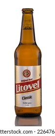 Rishon Le Zion, Israel - April 12, 2013: One bottle of beer Litovel Classic alc.3%, 500 ml. It�s a Pale Lager beer brewed in Litovel, Czech Republic