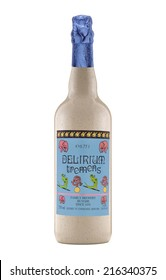 Rishon Le Zion, Israel - August 2, 2012: One bottle of beer Delirium Tremens alc.8.5%, 750ml. Belgian Strong Pale Ale style beer brewed by Brouwerij Huyghe in Melle, Belgium