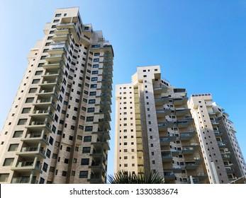 RISHON LE ZION, ISRAEL -December 4, 2018:  Residential buildings   in Rishon Le Zion, Israel.