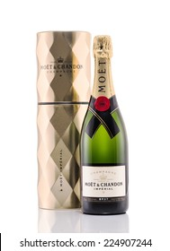 Rishon Le Zion, Israel - December 21, 2012: One bottle of champagne Moet and Chandon Brut Imperial alc.12% 750ml. Packaged in a metal tin to help keep it cold . Produced in France