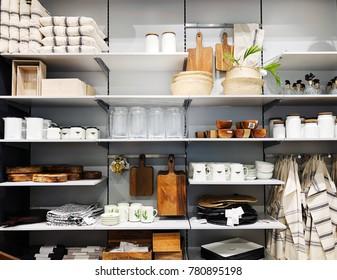 RISHON LE ZION, ISRAEL- DECEMBER 17, 2017: Kitchen accessories in the store H & M Home in Rishon Le Zion, Israel