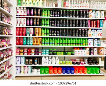 RISHON LE ZION, ISRAEL- FEBRUARY 27, 2018: Various brand of shampoo bottles for sale on supermarket at Azrieli Department Store in Rishon Le Zion, Israel
