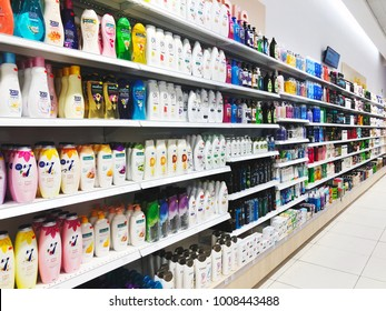 RISHON LE ZION, ISRAEL- JANUARY 3, 2018: Various brand of shampoo bottles for sale on supermarket at Azrieli Department Store in Rishon Le Zion, Israel
