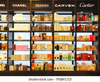 RISHON LE ZION, ISRAEL- JANUARY 12, 2018: Skincare and cosmetic products on display in a department store. Skincare and makeup products are the largest part of cosmetic market in the world.