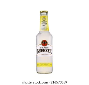 Rishon Le Zion, Israel - June 6, 2012: Bacardi Breezer Lemon Alcopop. Breezer a refreshing blend of alcohol, Bacardi rum, fruit flavours & sparkling water alc.4% 275ml. Imported from Germany