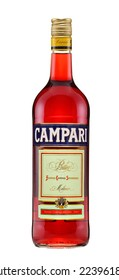Rishon Le Zion, Israel - June 6, 2012: One bottle of Campari Bitter Liqueur alc. 25%, 1L. Classic Italian bitter liqueur is made using a blend of herbs, spices and fruit peels lead by bitter orange