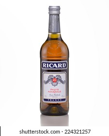 Rishon Le Zion, Israel - May 13, 2012: One bottle of Ricard Pastis de Marseille alc.45%, 750ml. Yellow aniseed-based aperitif invented by Paul Ricard in 1932. Produced in France