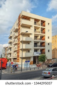 Rishon LeTsiyon, Israel-December 5, 2017: Renovation of the living house within the program Tama 38 is almost completed. The old 3-floor house turned into a modern 5 story building.