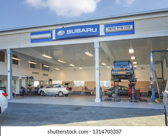 Rishon LeTsiyon, Israel-March 17, 2013: Newly open garage Subaru offers its services for licensed service and maintenance. It is located in the western industrial zone.