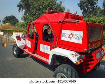 Rishon LeTsiyon, Israel-May 3, 2013: Magen David Adom SUV red ambulance donated from the Australian family whose names are written on the door.