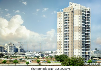 Rishon LeZion, Israel-June 17, 2017: Newly built 18-story residence tower in the district under development named  Nahlat Yehuda