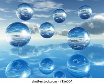 Rising  balls reflecting on a mirror surface - digital artwork.