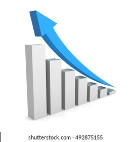 rising business graph concept   3d illustration