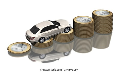 Rising car costs - luxury car on coins