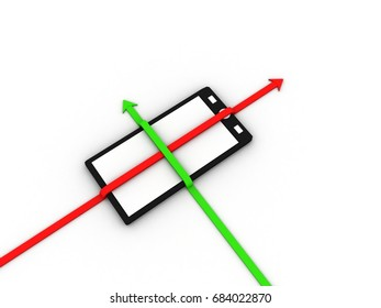 Rising colorful arrow with mobile phone . 3D illustration