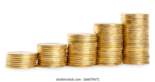Rising columns of golden coins isolated on a white background