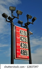 Rising fuel prices are reflected in this service station's posted prices