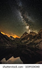 rising milkyway in reflection
