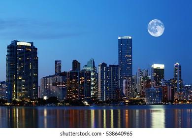 A Rising moon over Miami, Florida