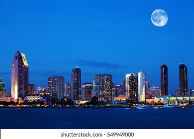 A Rising moon over San Diego, California
