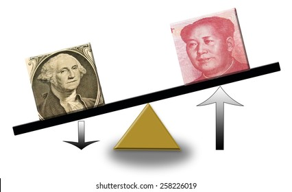 rising Renminbi versus falling US dollar on a scale, concept of foreign exchange or balance of trade