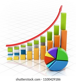 Rising sale bars and pie chart showing financial data. 3D illustration.