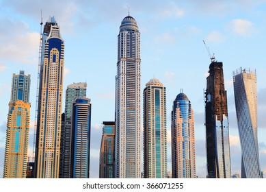 Rising skyscrapers of Dubai Marina.