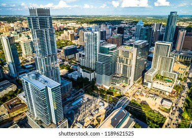 Rising skyscrapers into the future in Austin, Texas , USA towers dominate the skyline and a futuristic cityscape rises above the capital city of downtown Austin , TX