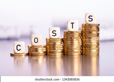 Rising stacks of coins with the word costs