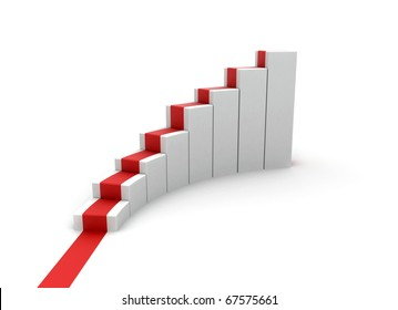 Rising stairs with red carpet business concept