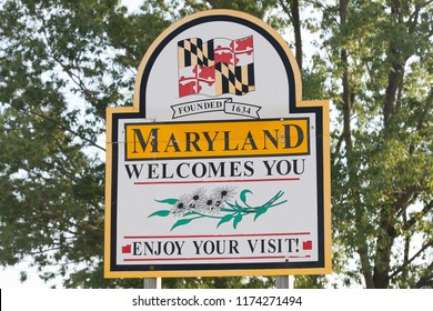 RISING SUN, MD / USA - JUNE 29, 2018: Road sign located along Route 1 South welcomes drivers to Maryland, also known as the Old Line State.