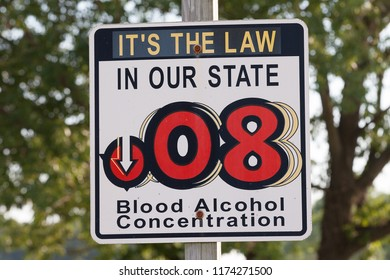 RISING SUN, MD / USA - JUNE 29, 2018: Blood Alcohol Concentration sign located along Route 1 South warns motorists entering the state of Maryland of the BAC limit.