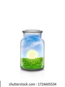 Steigende Sonne über der Graslandschaft in einer chemischen Flasche vor weißem Hintergrund. Ökologisches und nachhaltiges Konzept.
