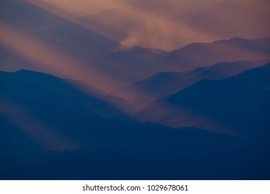 The rising sun, sky cloud sunrise abstract with mountain, background and fog