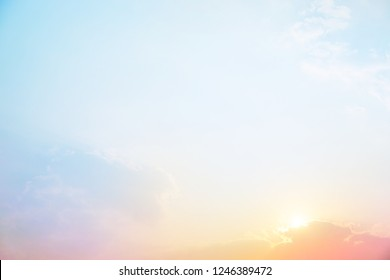 The rising sun, sky cloud sunrise light color, soft bright color filter for abstract background