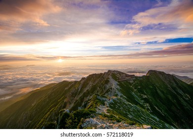 rising sun from the summit of one of Japan alps in Nagano