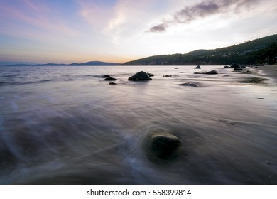 Rising tide | Hinsby Beach | Tasmania  Taroona and Hinsby beaches as seen from near Taroona Park just South of Hobart, Tasmania.