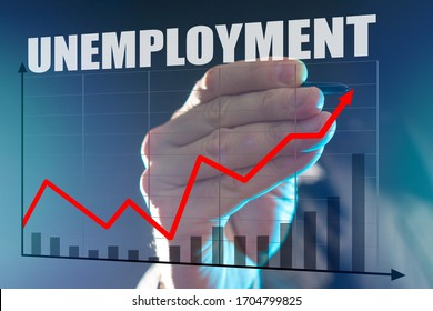 Rising unemployment during recession. Economic crisis has led to unemployment. Man depicts a graph. Growing graph is drawn on glass. Stylus in the hand. Large Aplan unemployment logo. Labor market.
