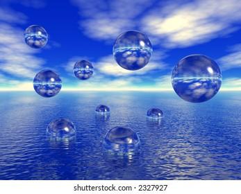 Rising water balls - digital artwork.More in my portfolio.