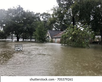 Rising water levels due to Hurricane Harvey 2017, in Spring Texas a couple miles north of Houston off East Cypresswood Drive.