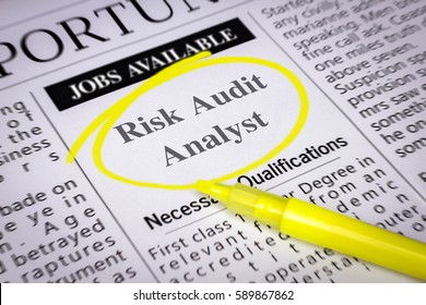 Risk Audit Analyst - Newspaper sheet with ads and job search, circled with yellow marker