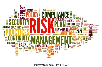Risk and compliance in word tag cloud on white