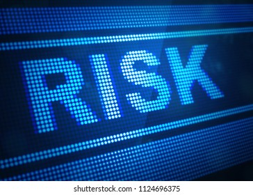 risk digital screen 3d illustration with blue colour